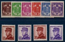 MON  1937/39  Armoiries Et  Prince Louis II  : 10 Des Premières Valeurs De La Série N°YT 154-166 ** MNH (dont Le 65c) - Neufs