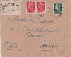 ITALIE : GUERRE . LETTRE REC A 1.75 LIRE . DE L'OCCUPATION ITALIENNE DE MENTON . 1942 . - Italia