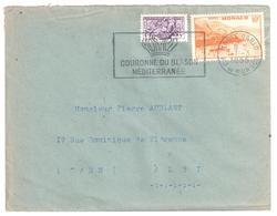 MONTE CARLO Lettre 10F Rade Orange 5 F Sceau Du Prince Ob Meca 1955  Couronne Blason Yv 311A 415 - Covers & Documents