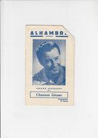 Alhambra Programma / Programme - Bruxelles - Opérette Chanson Gitane - 1952 - Programma's