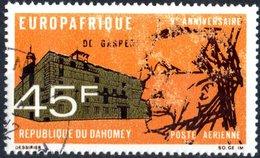 DAHOMEY, POSTA AEREA, AIRMAIL, COMMEMORATIVO, DE GASPERI, 1968, 45 F., USATO  Mi:DY 350, Scott: DY C75, Yt:DY PA79 - Benin – Dahomey (1960-...)