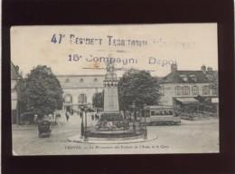 Cachet 47e Régiment Territorial D'infanterie 15e Compagnie Dépôt Sur Carte Postale De Troyes En 1915 - Marcophilie (Lettres)