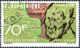 DAHOMEY, POSTA AEREA, AIRMAIL, COMMEMORATIVO, ADENAUER, 1968, 70 F., USATO  Mi:DY 350, Scott: DY C75, Yt:DY PA79 - Benin – Dahomey (1960-...)