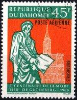 DAHOMEY, POSTA AEREA, AIRMAIL, COMMEMORATIVO, GUTENBERG, 1968, 45 F., USATO  Mi:DY 344, Scott:DY C69, Yt:DY PA73 - Benin – Dahomey (1960-...)