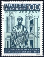 DAHOMEY, POSTA AEREA, AIRMAIL, COMMEMORATIVO, GUTENBERG, 1968, 100 F., USATO  Mi:DY 345, Scott:DY C70, Yt:DY PA74 - Benin – Dahomey (1960-...)
