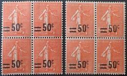 R1615/1797 - 1926/1927 - TYPE SEMEUSE FOND LIGNE - BLOCS LUXES NEUFS** N°220 + 221 Avec VARIETE ➤➤➤ Surcharges Déplacées - Variétés: 1921-30 Lettres & Documents