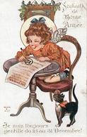 Inter-art Co 3383 Comique, Bonne Année Helen B Gay (chat Noir Angelot - Illustrateurs & Photographes