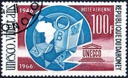 DAHOMEY, POSTA AEREA, AIRMAIL, ANNIVERSARIO UNESCO, 1966, 100 F., USATO, Mi:DY 292, Scott:DY C45, Yt:DY PA49 - Benin – Dahomey (1960-...)