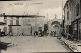 Cp Noirétable Loire, Place Et Porche De L'Église - Francia