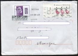 Frankreich 2019 Brief/ Lettre 100g Europa ;  MiNr.7372 Trachten +7224 Marianne  International DataMatrix- Code  Gez. - France