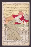 CPA Chat Cat Katze Femme Women Art Nouveau Lucien Robert Circulé - Gatos