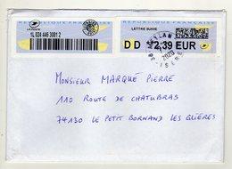 Enveloppe FRANCE Avec Vignette D' Affranchissement LETTRE SUIVIE Oblitération MAYLAN 07/02/2020 - 2000 «Avions En Papier»