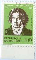DAHOMEY, POSTA AEREA, AIRMAIL, BEETHOVEN, 1970, 110 F., FRANCOBOLLO USATO  Mi:DY 438, Scott:DY C130, Yt:DY PA133 - Benin – Dahomey (1960-...)