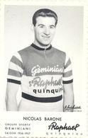 Carte Cyclisme Nicolas Barone Et Publicité St-Raphael Quinquina - Ciclismo