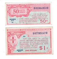 2 MPC - CERTIFICATS DE PAIEMENT MILITAIRES AMERICAINS - 50 CENTS - 1 DOLLAR - SERIE 471 - Military Payment Certificates (1946-1973)
