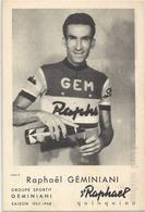 Carte Cyclisme Raphaël Géminiani Et Publicité St-Raphael Quinquina - Wielrennen