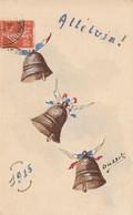 CPA Peinte à La Main Aquarellée Patriotique Guerre 1914 -1915 Cloche Bell Glocke Campana Alleluia ! Illustrateur 2 Scans - Patrióticos