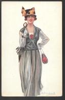 Cpa...illustrateur Italien...Bompard...art Nouveau...art Déco...mode...jeune Femme Avec Ombrelle Et Sac... - Bompard, S.