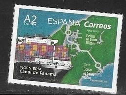 SPAIN, 2019, MNH, ENGINEERING, PANAMA CANAL, SHIPS, MAPS, 1v - Barche
