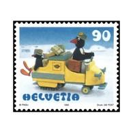 """Timbre N° 1602 Neuf ** - Pingu"""" (Personnage De Dessin Animé) (I). Papa Pingu Distribuant Le Courrier En Motoneige."""" - Nuovi"""