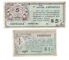 2 MPC - CERTIFICATS DE PAIEMENT MILITAIRES AMERICAINS - 5 DOLARS - 1 DOLLAR - SERIE 461 - Military Payment Certificates (1946-1973)