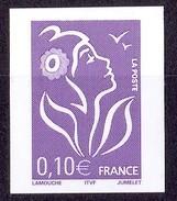 N°3732aa 0,10€  MARIANNE DE LAMOUCHE NON DENTELE ACCIDENTEL ET SANS PHOSPHORE LUXE** - Abarten Und Kuriositäten