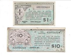 2 MPC - CERTIFICATS DE PAIEMENT MILITAIRES AMERICAINS - 1 DOLLAR - 10 DOLLAR - SERIE 461 - Military Payment Certificates (1946-1973)