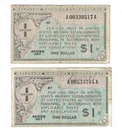 LOT 2 MPC - CERTIFICATS DE PAIEMENT MILITAIRES AMERICAINS - 1 DOLLAR - SERIE 461 - Military Payment Certificates (1946-1973)