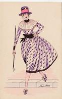 CPA Aquarellée Peinte à La Main Femme Lady Glamour Women Girl Mode Chapeau Hat  Illustrateur X. SAGER (2 Scans) - Sager, Xavier