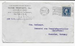 USA Brief 1911 - NY Nach München - Brauerei Zum Franziskanerkeller - Leistbräu -Rückseite Werbung Bräuhaus Aussig-Böhmen - Biere