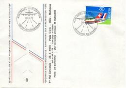 SUISSE SCHWEIZ SWITZERLAND 1079 (o) FDC 1er Vol Concorde Paris CDG Bâle-Mulhouse Vol AF 4723 28 Avril 1979 [GR] - Concorde