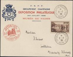 Enveloppe Et Cachet Illustrés FSPF Congrès Groupement Champagne Exposition Philatélique Juillet 1938 Musée De Reims - Commemorative Postmarks