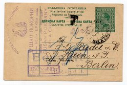 1931 YUGOSLAVIA, SERBIA, BELA CRKVA TO BERLIN, GERMANY, POSTAGE DUE IN BERLIN, ADVERTISEMENT, STATIONERY CARD, USED - Postal Stationery