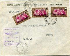"""MADAGASCAR LETTRE PAR AVION AVEC CACHET """" FRANCE LIBRE PREMIERE LIAISON AERIENNE MADAGASCAR AFRIQUE EQUATORIALE........"""" - Madagascar (1889-1960)"""
