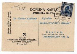 1922 YUGOSLAVIA,CROATIA, BROD NA SAVI, SLAVONSKI BROD TO ZAGREB, CROATIAN COAL ASSOCIATION, ADVERTISEMENT CARD - 1919-1929 Kingdom Of Serbs, Croats And Slovenes