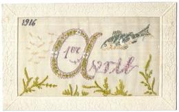 1er Avril Poisson D' Avril Brodée Tissus 1916 - Brodées