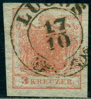 Austria 1850 Lugos Cancel,Thin Paper,Coat Of Arms, 3 Krz, Used - Besetzungen