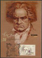 """Ukraine 2020. #1805 - """"Ludwig Van Beethoven. 1770-1827 """". Maxicard. (B05) - Musica"""