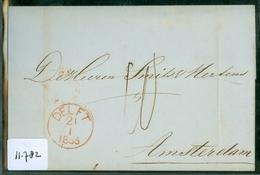 BRIEFOMSLAG Uit 1856 Gelopen Van DELFT Naar AMSTERDAM  (11.782) - Briefe U. Dokumente
