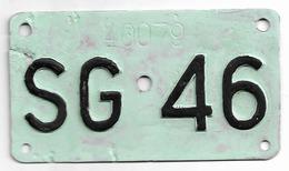 Velonummer St. Gallen SG 46 - Plaques D'immatriculation