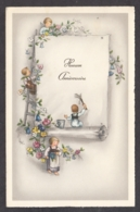 96156/ ANNIVERSAIRE, Enfants, Fleurs, Parchemin - Compleanni