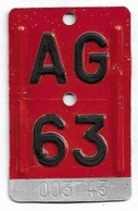 Velonummer Aargau AG 63 - Plaques D'immatriculation