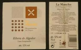 2 ETIQUETAS VINO TINTO RIBERA DE ALGODOR. USADO - USED. - Etiquetas