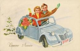 Carte Fantaisie Bonne Année Avec Une 2 CV - Passenger Cars