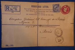 251 GRANDE BRETAGNE JERSEY BELLE LETTRE 1927 POUR PARIS BD HAUSSMANN 2,5 PENCE EN RECOMMANDé CACHETS INTERESSANTS - 1902-1951 (Koningen)