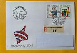 9914 - Jouets D'enfants 1986 No 300 & 301 FDC Recommandée La Punt-Chamues-CH 25.11.1986 - Lettres & Documents