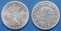 NETHERLANDS EAST INDIES - Silver 1/10 Gulden 1854 KM# 304.1 - Edelweiss Coins - Indes Neerlandesas