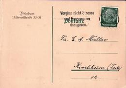 ! 1936 Ganzsache Aus Potsdam, Autograph Politiker August Winning, L.A.S. - Autógrafos