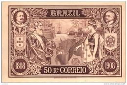 .D. Carlos I. Rei De Portugal & Affonso Penna Presidente Do Brasil Brazil Picture Stamp Postcard 50 Reais - Briefmarken (Abbildungen)
