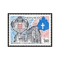 Timbre N° 1331 Neuf ** - La Principauté élevée Au Rang D'Archevéché En 1981. Vitrail De La Cathédrale De Monaco. - Monaco